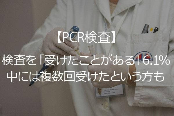 【PCR検査】検査を「受けたことがある」6.1%、中には複数回受けたという方も